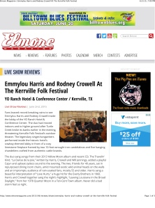 Elmore Magazine | Emmylou Harris and Rodney Crowell At The Kerrv