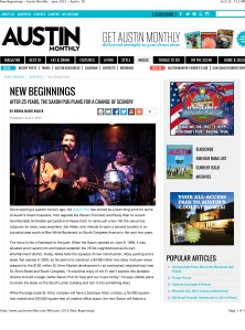 New Beginnings - Austin Monthly - June 2015 - Austin, TX