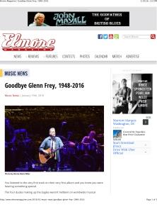 Elmore Magazine | Goodbye Glenn Frey, 1948-2016