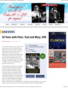 50 Years with Peter, Paul and Mary, DVD – Elmore Magazine